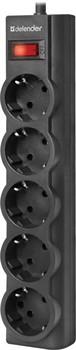 Сетевой фильтр Defender ES largo 3.0 черный, 3,0 м, 5 розеток.     99498 - фото 10087