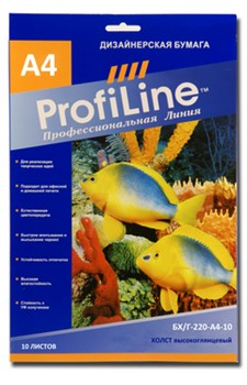 Profiline ХОЛСТ высокоглянцевый, 220г/м2, А4, 10л, 1440 dpi - фото 4690