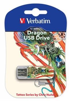 Verbatim 16GB Флеш диск Mini Tattoo Edition, USB 2.0, Дракон     49888 - фото 4708