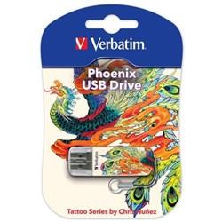 Verbatim 16GB Флеш диск Mini Tattoo Edition, USB 2.0, Феникс     49887 - фото 4711