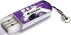 Verbatim 8GB флэш-диск Mini Graffiti Edition, USB 2.0, Фиолетовый     98164 - фото 4713