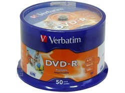 DVD-R 16x Cake 50 Printable Verbatim     43533 - фото 4865