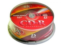 Диск CD-RW VS 700 Mb, 12x, Cake Box (25)     20243 - фото 4879