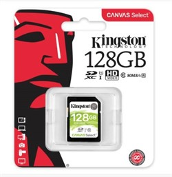 Флеш карта SD 128GB Kingston SDXC Class 10 UHS-I U1 Canvas Select 80Mb/s     SDS/128GB - фото 8975