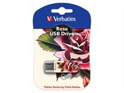Verbatim 16GB Флеш диск Mini Tattoo Edition, USB 2.0, Роза     49885