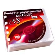 Конверты на 2 CD(белые) 100шт. Розничная пластиковая упаковка     VSCAEW-100-SW