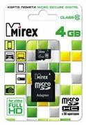 Флеш карта microSD 4GB Mirex microSDHC Class 10 (SD адаптер)     13613-AD10SD04
