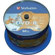 Диск DVD-R Verbatim 4.7 Gb, 16x, Cake Box (50), Full Ink Printable Pro     43744