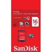 Флеш карта microSD 16GB SanDisk microSDHC Class 4 (SD адаптер)     SDSDQM-016G-B35A