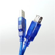 Кабель удлинительный Telecom USB2.0 AM/AF прозрачная, голубая изоляция 1.8m     VUS6956T-1.8MTBO_885848