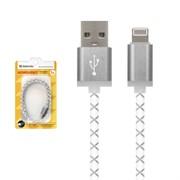 Defender Кабель USB-Lightning ACH03-03LT, LED подсветка, 1м, серый.     87550