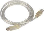 Удлинитель кабеля USB2.0 AM/AF 1,5m прозрачная изоляция TELECOM     TUS6990-1.5M_900104