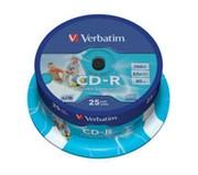 CD-R 700Mb 52x DL+, Inkjet Printable, Cake 25 Verbatim     43439