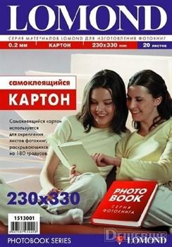 Lomond Картон самоклеящийся двухсторонний 170 г/м2, 230х330мм, 20 листов.     1513001 - фото 9377