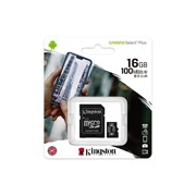 Флеш карта microSD 16GB Kingston microSDHC Class 10 UHS-I U1 Canvas Select Plus (SD адаптер) 100MB/s     SDCS2/16GB
