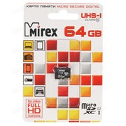Флеш карта microSD 64GB Mirex microSDXC Class 10 UHS-I     13612-MC10SD64