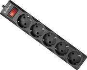 Сетевой фильтр Defender ES largo 1.8 черный, 1,8 м, 5 розеток.     99497