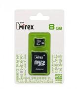 Флеш карта microSD 8GB Mirex microSDHC Class 10 (SD адаптер)     13613-AD10SD08