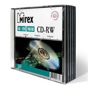 Диск CD-RW Mirex 700 Mb, 12х, Slim Case (5), цена за 1 шт.     202325