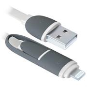 Defender кабель USB10-03BP зеленый MicroUSB+Lightning 1м     87489